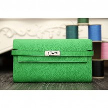 Replica Top Hermes Kelly Longue Wallet In Bamboo Clemence Leather RS07873