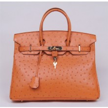 Replica Fashion Hermes Autruche Ostrich Birkin 35cm Bag Handstitched Gold Hardware Handstitched, Mousse Gray CK19 RS12398