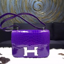 Best Hermes Constance 23cm Matte Alligator Crocodile Original Leather Handstitched Palladium Hardware, Ultraviolet 5L RS18587