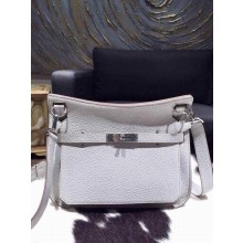 Best Hermes Jypsiere 28cm Gypsy Bag Pearl Gray CK80 Togo Palladium RS11931
