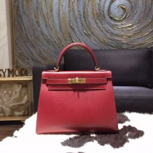 Best Hermes Kelly 28cm Box Calfskin Original Leather Bag Handstitched Gold Hardware, Rouge H CK55 RS08609