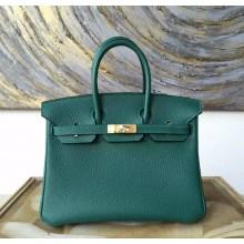 Best Imitation Hermes Birkin 25cm Togo Calfskin Bag Handstitched Gold Hardware, Malachite Z6 RS18117