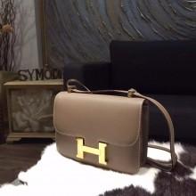 Best Imitation Hermes Constance 23cm Epsom Calfskin Original Leather Handstitched Gold Hardware, Etoupe CK18 RS02102