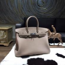 Best Quality Hermes Birkin 35cm Taurillon Clemence Calfskin Bag Handstitched Palladium Hardware, Gris Tourterelle CK81 RS05537