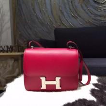 Best Quality Hermes Constance 18cm Swift Calfskin Handstitched Palladium Hardware, Ruby B5 RS21173