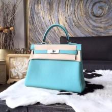 Cheap Hermes Kelly 28cm Togo Calfskin Bag Handstitched Gold Hardware, Lagon Blue 7V RS07540