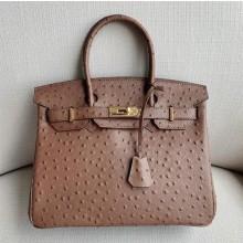 Copy Fashion Hermes Autruche Ostrich Birkin 35cm Bag Handstitched Gold Hardware Handstitched, Mousse Gray CK19 RS123881