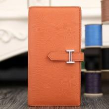 Copy Hermes Bearn Gusset Wallet In Crevette Epsom Leather RS12704