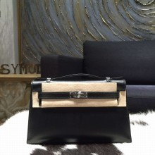Copy Hermes Mini Kelly Pochette 22cm Box Calfskin Palladium Hardware, Noir Black RS16626