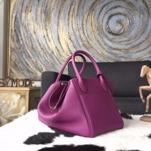 Fake Copy Hermes Lindy 26cm/30cm Taurillon Clemence Calfskin Bag Handstitched, Anemone P9 RS12811