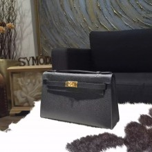 Fake Fake Hermes Mini Kelly Pochette 22cm Epsom Calfskin Leather Gold Hardware, Noir RS21286