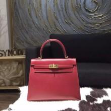 Fake Hermes Kelly 25cm Box Calfskin Bag Handstitched Gold Hardware, Rouge H CK55 RS00433