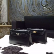Fake Hermes Mini Kelly Pochette 22cm Box Calfskin Leather Handstitched, Noir Black RS15877