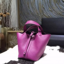 Fake High Quality Hermes Picotin Lock Bag 18cm/22cm Taurillon Clemence Palladium Hardware Handstitched, Anemone P9 RS10116