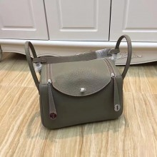 Fake Replica Hermes Lindy 26cm/30cm Taurillon Clemence Calfskin Bag Handstitched, Gris Tourterelle CK81 RS02009