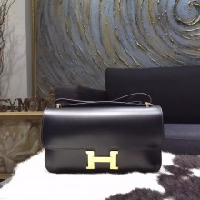 Fashion Hermes Constance Elan 23cm Box Calfskin Gold Hardware Handstitched, Noir RS14084