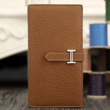 Hermes Bearn Gusset Wallet In Brown Leather RS14640