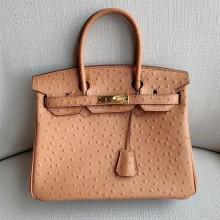 Hermes Birkin 35cm Autruche Ostrich Bag Handstitched Gold Hardware, Parchemin 3C RS167721