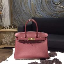 Hermes Birkin 30cm Togo Calfskin Bag Handstitched Gold Hardware, Rouge H CK55 RS03047