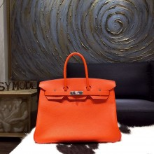 Hermes Birkin 35cm Togo Calfskin Original Leather Bag Handstitched Palladium Hardware, Orange CK93 RS02710