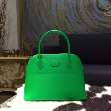 Hermes Bolide 27cm Epsom Calfskin Leather Bag Palladium Hardware Handstitched, Bambou 1K RS06005