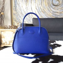 Hermes Bolide 27cm Epsom Calfskin Leather Bag Palladium Hardware Handstitched, Blue Electric 7T RS08235