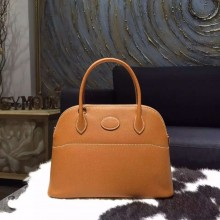 Hermes Bolide 27cm Epsom Calfskin Leather Bag Palladium Hardware Handstitched, Gold CK37 RS08932