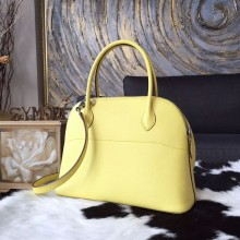Hermes Bolide 27cm Epsom Calfskin Leather Bag Palladium Hardware Handstitched, Jaune Poussin 1Z RS20719
