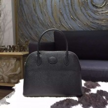 Hermes Bolide 27cm Epsom Calfskin Leather Bag Palladium Hardware Handstitched, Noir RS00606