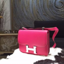 Hermes Constance 23cm Epsom Calfskin Original Leather Handstitched Palladium Hardware, Rose Tyrien E5 RS05339