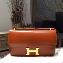 Hermes Constance Elan 23cm Box Calfskin Leather Bag Handstitched Gold Hardware, Fauve CK34 RS00920