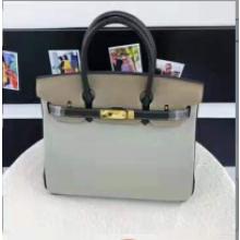 Hermes Horseshoe Birkin 35cm Togo Calfskin Bag Handstitched Palladium Hardware, Etain 8F/Blue Electric 7T RS17464
