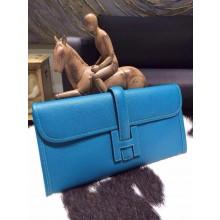 Hermes Jige Elan Clutch 29cm Epsom Calfskin Handstitched, Blue Izmir 7W RS17915
