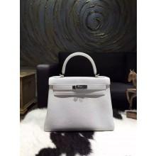 Hermes Kelly 28cm Togo Calfskin Bag Handstitched Palladium Hardware, Blanc/White RS20389