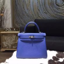 Hermes Kelly 28cm Togo Calfskin Bag Handstitched Palladium Hardware, Blue Electric 7T RS01538