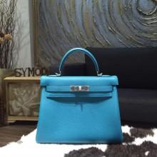 Hermes Kelly 28cm Togo Calfskin Bag Handstitched Palladium Hardware, Turquoise Blue 7B RS17657