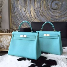 Hermes Kelly 28cm Togo Calfskin Bag Palladium Hardware Handstitched, Blue Atoll 3P RS04639