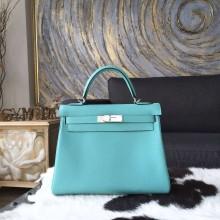 Hermes Kelly 28cm Togo Calfskin Leather Bag Handstitched, Blue Atoll 3P RS10405