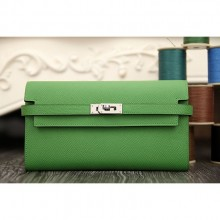 Hermes Kelly Longue Wallet In Bamboo Epsom Leather RS08398