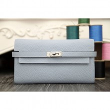 Hermes Kelly Longue Wallet In Blue Lin Clemence Leather RS00003