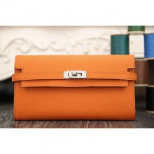 Hermes Kelly Longue Wallet In Orange Epsom Leather RS01801