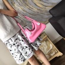 Hermes Lindy 26cm/30cm Swift Calfskin Bag Handstitched Palladium Hardware, Pink 5P RS01562