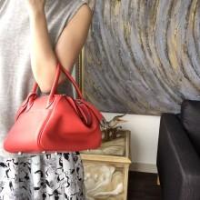 Hermes Lindy 26cm/30cm Swift Calfskin Bag Handstitched Palladium Hardware, Rose Jaipur T5 RS04757