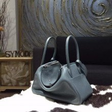 Hermes Lindy 26cm/30cm Taurillon Clemence Calfskin Bag Handstitched, Blue Orage Y7 RS21201