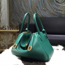 Hermes Lindy 26cm/30cm Taurillon Clemence Calfskin Bag Handstitched, Malachite Z6 RS13051