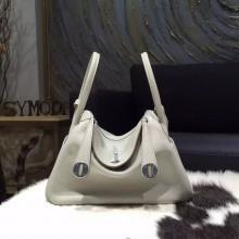 Hermes Lindy 26cm/30cm Taurillon Clemence Calfskin Bag Handstitched, Pearl Grey CK80 RS05086