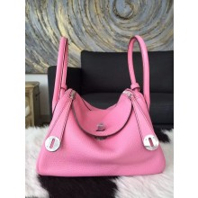 Hermes Lindy 26cm/30cm Taurillon Clemence Calfskin Palladium Hardware Handstitched, Pink 5P RS03120