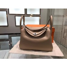 Hermes Lindy 30cm Taurillon Clemence Leather Palladium Hardware High Quality, Gris Tourterelle RS07213