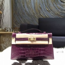 Hermes Mini Kelly Pochette 22cm Alligator Gold Hardware, Cassis N5 RS18833