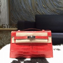 Hermes Mini Kelly Pochette 22cm Alligator Palladium Hardware, Bougainvillier A5 RS18467